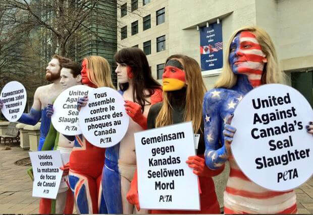 Body-painted activists protest Canada's seal slaughter